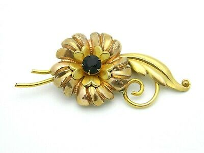 Red Rhinestone Art Nouveau Style Flower Vintage Pin Brooch Pendant