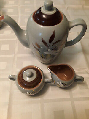 Stangl Pottery golden harvest coffee/tea pot with creamer and sugar bowl
