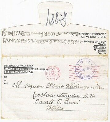 # 1945 Gb Pow Camp 56 Botesdale Diss Suffolk Lettersheet > Bari Italy Ww2 Italie