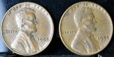 1955 Lincoln Wheat Penny Cent 1c Poor Mans Double Die - Lot of 2 Coins