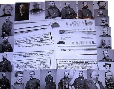 53 Union Generals DEATH CERTIFICATES RARE Civil War Battles Survivors Documents