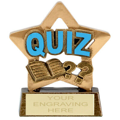6 x QUIZ Trophy 8.3cm Personnalisé Récompense Pub Team Knowledge