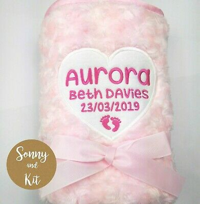 Personalised Baby Girl Heart Soft Fluffy Blanket, Embroidered New Born Pink Gift