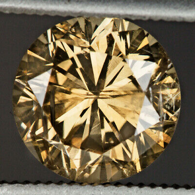 GIA CERTIFIED 1.63ct DIAMOND NATURAL FANCY YELLOW CHAMPAGNE ROUND CUT BROWN ROSE