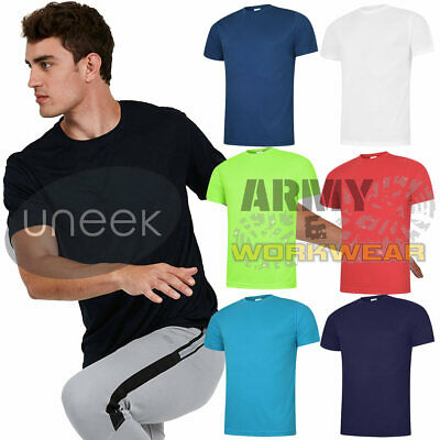 Uneek Mens Ultra Cool T-Shirt Breathable Sports Wicking Tee Causal Wear Tops