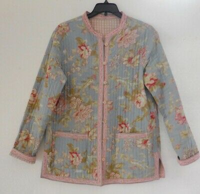 Style du Monde Reversible French Blue Floral Pink Check Quilted Jacket sz XS EUC