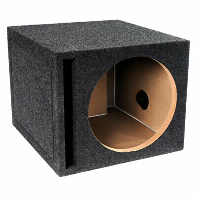 "Atrend 12"" Car Single Subwoofer Vented Box Ported Sub Enclosure Charcoal Carpet"