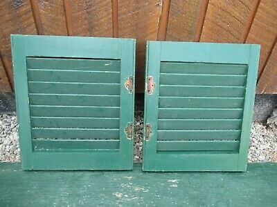 "VINTAGE Old 2 SHUTTERS Wooden 17"" long x 15"" Wide Architectural Salvage #4"