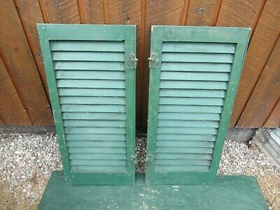 "VINTAGE OLD  2 SHUTTERS Wooden 31"" long x 14"" Wide Architectural Salvage #8"