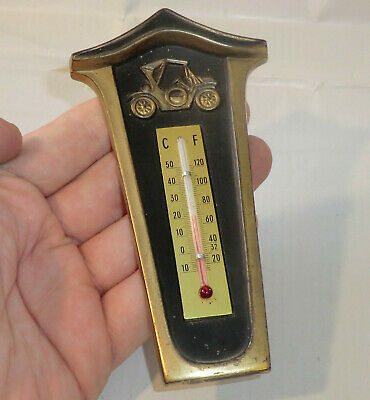 THERMOMETER Messing AUTOMOBILIA Schnauferl OLDIE Wandthermometer °C/ F Germany 2