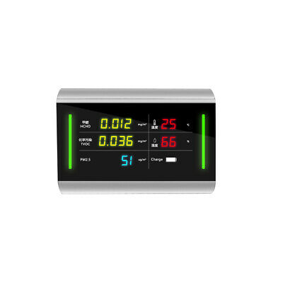 5-in-1 Digital Display USB Rechargeable TVOC HCHO Formaldehyde PM2.5 R8B6