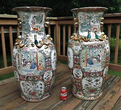 """Pair Chinese Floor Vases 36"""" Tall Rose Medallion w/ Stands Signed Qing Dynasty"""