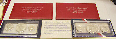 1776-1976 U.S. Bicentennial 3 coin Uncirculated Set - 40% - Lot of 2 w/ Red Env.