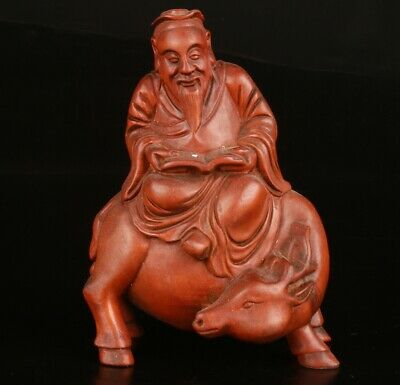 Chinese Boxwood Handmade Carving Cow Old Man Statue Gift Decoration Collec