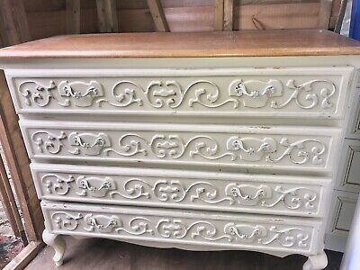 Vintage French carved painted cream oak chest of drawers louis xv style