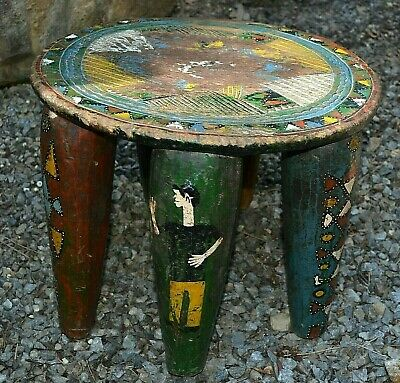 Antique African Nupe Tribe Carved Round Wood Stool Rare Paintings Nigeria Africa