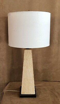 Port 68 vintage table lamp mid century modern drum shade stone ivory atomic