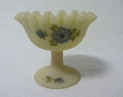 Fenton Custard Blue Poppy's Flowers Hand Painted Signed Crimped Top Compote