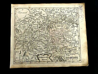 MAP OF AUSTRIA from 1700s with some WW I era doodles