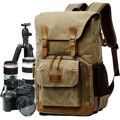 Vintage Camera Photography Backpack Waterproof Leather Canvas Bag Large Space US
