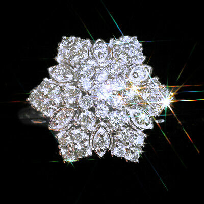 1Ct 100%Natural Diamond 10K White Gold Cluster Pentagon Ring EFFECT 2Ct RWG166-2