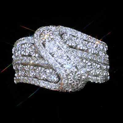 1Ct 100% Natural Diamond 10K White Gold Cluster Ring EFFECT 2Ct RWG169-2