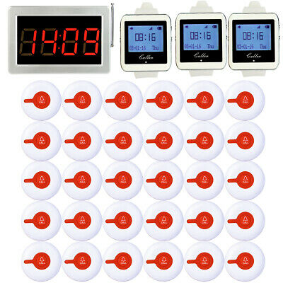 Cafe Bar Wireless Guest Calling System 30*Pager+Sticker+LED Host+Watch Receiver