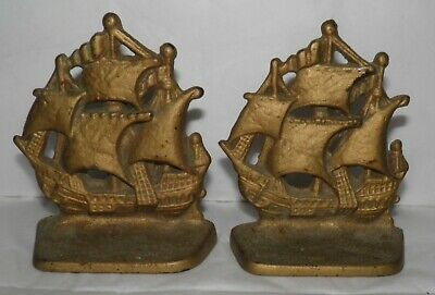Vintage Cast Iron Gold Painted Sailing Ship or Galleon BOOKENDS