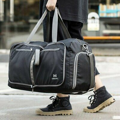 60L Travel Canvas Duffel Bags Sports Gym Large Foldable Black Big Bag Waterproof