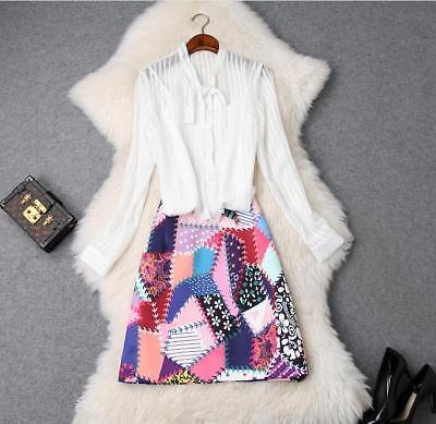 women New fashion sexy stripe perspective shirt+fresh printed skirts Classy suit