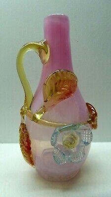 Victorian Antique Pink Vaseline Glass Vase Applied Flower Decoration
