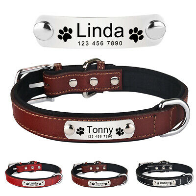 Soft Leather Personalised Dog Collar Pet Cat Custom Engrave Name ID Tags S M L
