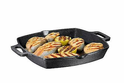 13 Inch Square Cast Iron Grill Pan. Pre-seasoned Grill Pan with Easy Grease