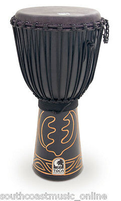 """Toca Black Mamba Djembe 12"""" Hand Carved Drum With Padded Carry Bag Simply Superb"""