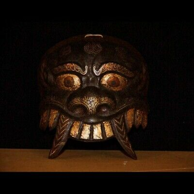 Rare 19th C Old Antique Tibet Buddhism Ritual Iron Mask Inlaid Silver/Red copper