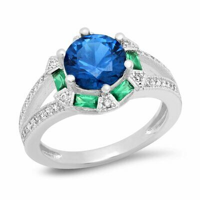 Piatella Ladies White Gold Tone Brass Cubic Zirconia and Lab Created Blue Spinel