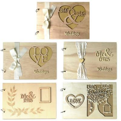 Wooden Guest Book Sign Wedding Romantic Marriage Guestbook Decoration Love Heart