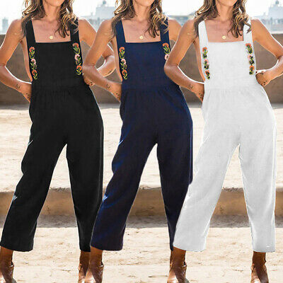 Womens Backless Sexy Dungarees Strap Jumpsuit Romper Casual Playsuit Overalls