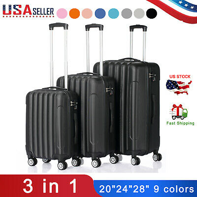 "3 Piece ABS Luggage Set Light Travel Case Hardshell Suitcase 20""24""28"" 9 colors"