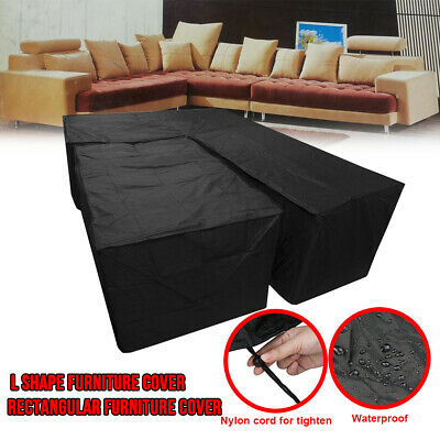 2X L Shape Garden Rattan Corner Furniture Cover+Table Cover Outdoor Sofa Protect