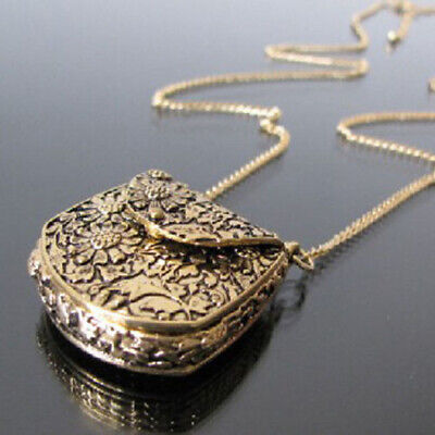 Vintage Bag Shape Carved Bronze Locket Pendant Long Chain Sweater Necklace Nice