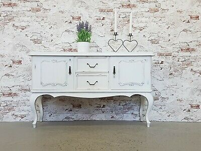 Anrichte Chippendale Sideboard Shabby Chic Antik Weiss Kommode Vintage Holz