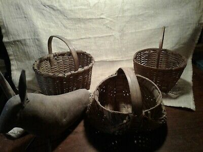 early primiive antique three childs baskets