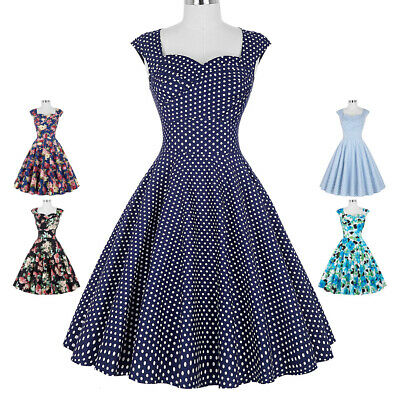Vintage 1950's 60s Retro Polka Dots/Floral Pattern Pinup Swing Dress Party Prom