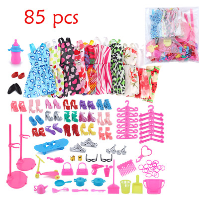 85Pcs ITEMS FOR BARBIE DOLL DRESSES, SHOES,JEWELLERY CLOTHES SET ACCESSORIES UK