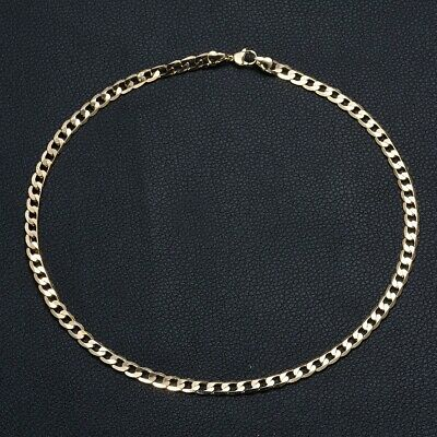 Delightful Gold Tone Solid 316L Stainless Steel Curb Choker Necklace Chain Gift
