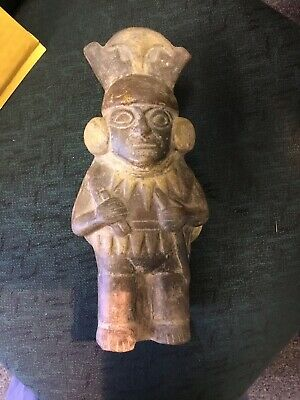 Ancient Mayan or Aztec Large Warrior Pottery Vase Bottle No Reserve