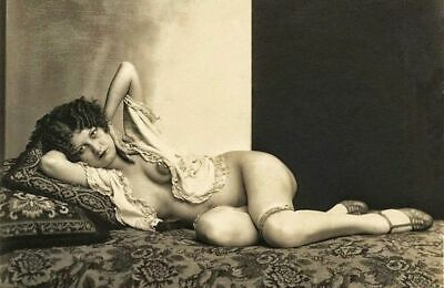 Sexy 1920s Nude Flapper Girl PHOTO Vintage Neglige Albert Arthur Allen Heels