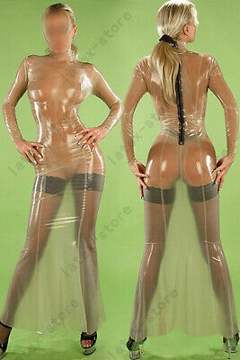 Latex Catsuit Rubber Gummi Back Zip Long Dresses Stocking Suitset Customized .4m