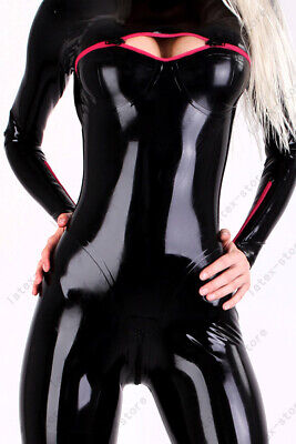 Latex Catsuit Rubber Gummi Front Zip Black Jumpsuit Sexy Party Customized 0.4mm